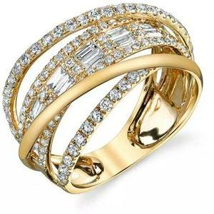 🆕️Yellow Gold/White Sapphire criss-cross Ban